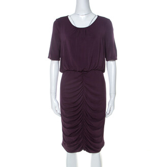 Burberry Purple Jersey Ruched Short Sleeve Dress L