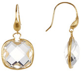 Rivka Friedman 18K Gold Clad Faceted Rock Crystal Cushion Shape Dangle Earrings