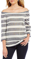 Westbound Petites Off-the-Shoulder 3/4 Sleeve Striped Peasant Top