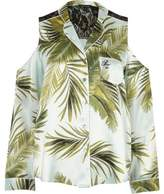 River Island Womens Blue palm print cold shoulder pyjama shirt