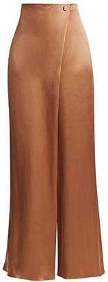 Cushnie Wrap-Front Wide-Leg Silk Trousers