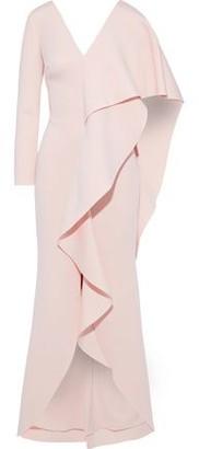 Badgley Mischka Cape-effect Draped Neoprene Gown