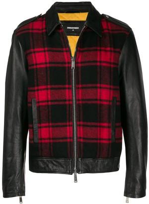 DSQUARED2 plaid panel leather jacket