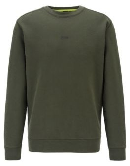 HUGO BOSS Relaxed Fit Sweatshirt In Cotton Blend Terry - Black
