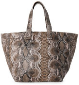 Street Level Brown Snake-Effect Large Tote