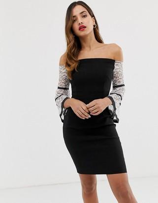 Vesper off shoulder contrast flute sleeve pencil dress-Black