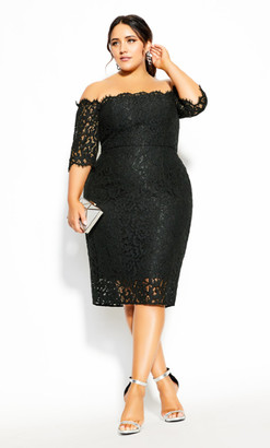City Chic Lace Love Dress - black