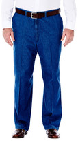 Haggar Big & Tall Work to Weekend Denim - Classic Fit, Flat Front, Hidden Expandable Waistband