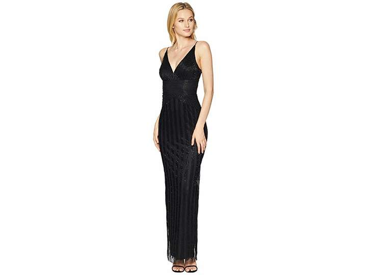 Adrianna Papell Long Sexy Beaded Column Gown