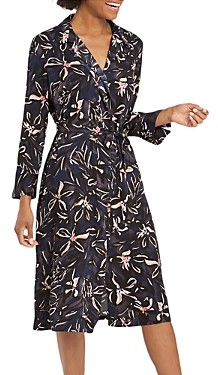 Nic+Zoe Inky Blooms Printed Shirt Dress