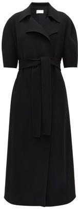 The Row Eri Short-sleeved Wool-blend Wrap Coat - Womens - Black
