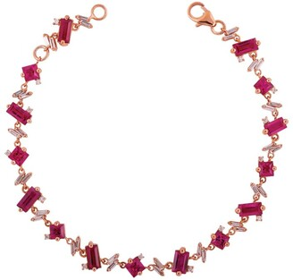 Suzanne Kalan Rose Gold Diamond and Ruby Fireworks Bracelet