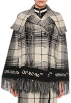 Off-White Double-Breasted Check Blanket Cape