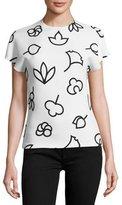 Narciso Rodriguez Saki-Print Cap-Sleeve Tee, White/Black