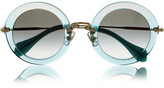 Glitter-finished acetate and metal teashade sunglasses
