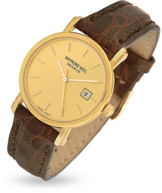 Raymond Weil Brown Croco-Stamped Leather Strap 18K Gold Date Dress Watch