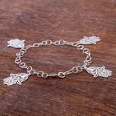 Sterling Silver Charm Bracelet Hamsa Hands from Peru, 'Hamsa Charms'