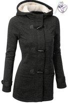 HOMEY INN Women's Winter Popular Outdoor Thick Horn Button Warm Hooded Wool Coat (L, )