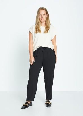 MANGO Violeta BY Drawstring baggy pants black - S - Plus sizes