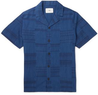 Folk Camp-Collar Frayed Patchwork Cotton Shirt