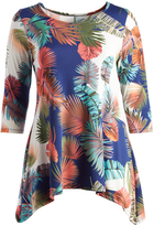 Glam Navy & Coral Palms Sidetail Tunic - Plus