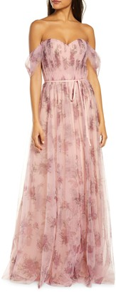Marchesa Off the Shoulder Floral Tulle Bridesmaid Gown