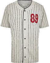 River Island MensGrey baseball stripe t-shirt