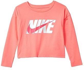 Nike Kids Nike Metallic Logo Long Sleeve Boxy T-Shirt (Toddler/Little Kids) (Racer Pink) Girl's Clothing