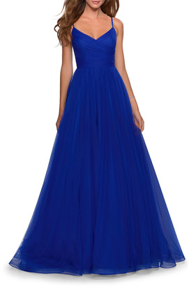La Femme V-Neck A-Line Tulle Ball Gown w/ Ruched Bodice