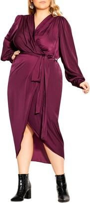 City Chic Opulent Long Sleeve Midi Dress