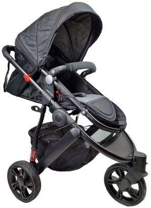 Aussie Baby Explorer 3 Wheels Pram - Black
