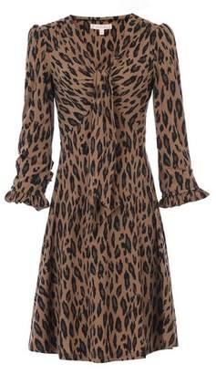 Dorothy Perkins Womens *Jolie Moi Camel Leopard Print Tie Front Skater Dress