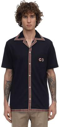 Gucci WASHED STRETCH PIQUET BOWLING SHIRT