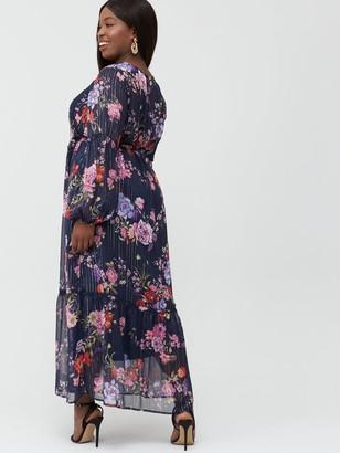Junarose Curve Fie Floral Tie Waist Maxi Dress - Navy