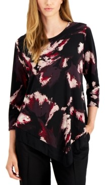 Alfani Petite Printed Point-Hem Tunic, Created For Macy's