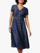 Phase Eight Celia Chambray Midi Dress, Blue