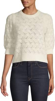 Joie Crew Neck Three-Quarter-Sleeve Textured Sweater