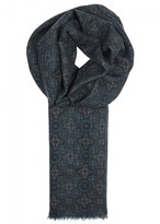 Lardini Dark Teal Printed Wool Scarf