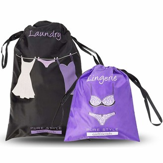 Pure Style Girlfriends Women's Travel Drawstring Bag Set Lingerie and Laundry