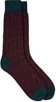 Barneys New York Men's Rib-Knit Cashmere-Blend Socks-BURGUNDY, DARK GREEN, RED