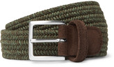 Anderson's - 3.5cm Green Suede-trimmed Woven Cord Belt