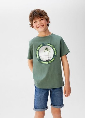 MANGO Organic printed cotton t-shirt khaki - 5 - Kids