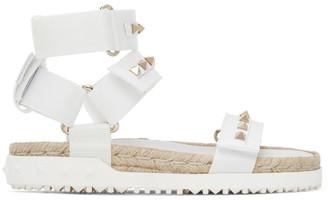 Valentino White Garavani Rockstud Thick Sandals