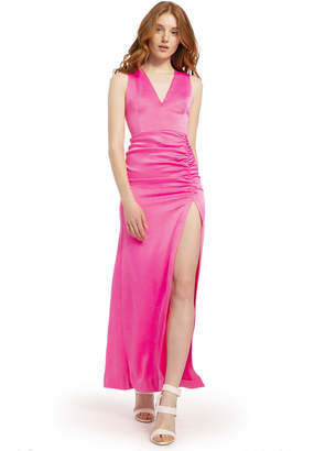 Alice + Olivia DIANA NEON V NECK HIGH SLIT GOWN
