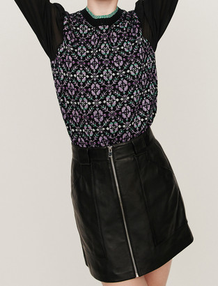 Maje Zipped leather skirt