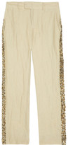 Gryphon Sequin-embellished cropped cotton pants