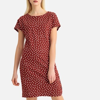 La Redoute Collections Short Shift Dress in Polka Dot Cotton