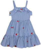 Rare Editions Pinstripe Floral-Embellished Dress, Little Girls, Created for Macy's