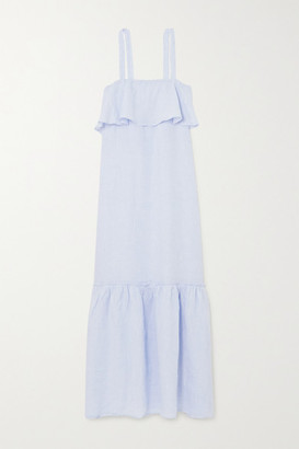 POUR LES FEMMES Tiered Ruffled Linen Nightdress - Light blue