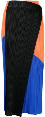 Pleats Please Issey Miyake Collage Plisse-Effect Straight Skirt